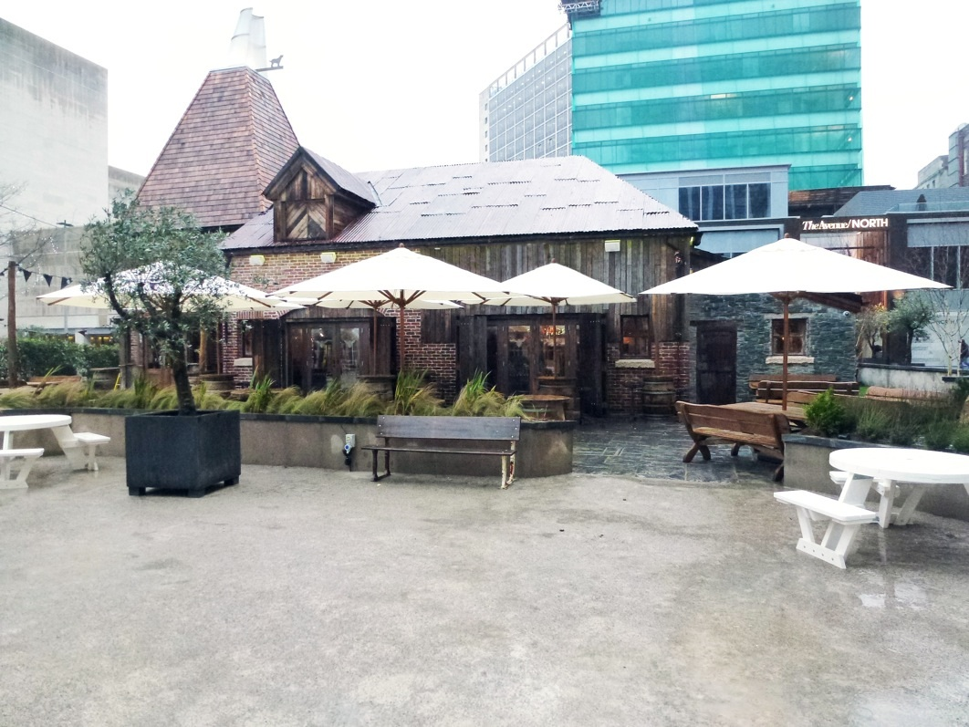 Bambusa parasols at the Oast House in Spinningfields, Manchester