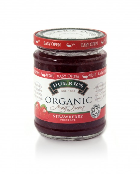 Duerr's jams and preserves, UK 340g glass jar fitted with metal lug closure, launched April 2011