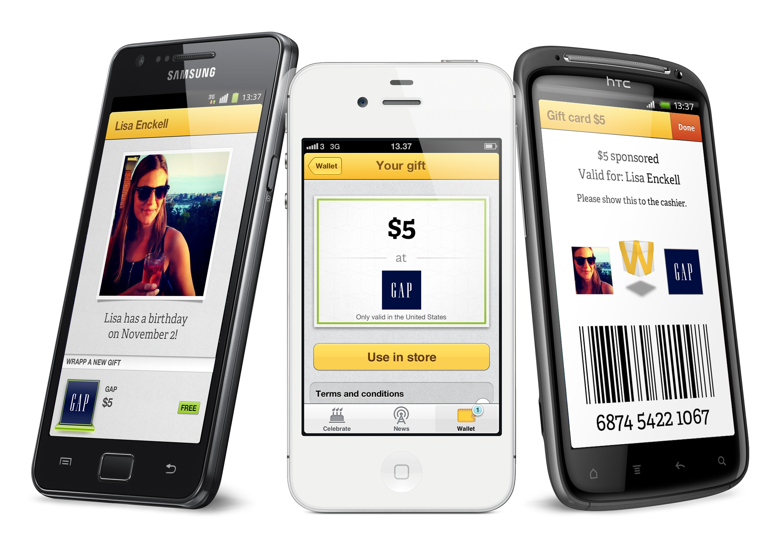 Social gifting: retail gift cards are stored on mobile phones until redemption as a part of a purchase