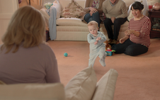 Ad centres on baby's first steps
